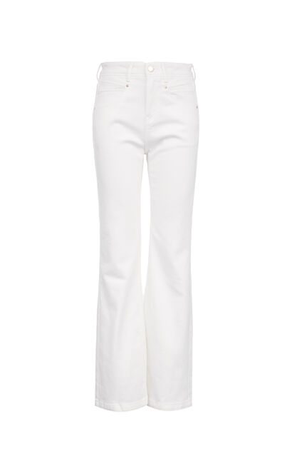 高腰百搭喇叭牛仔褲, 白, large