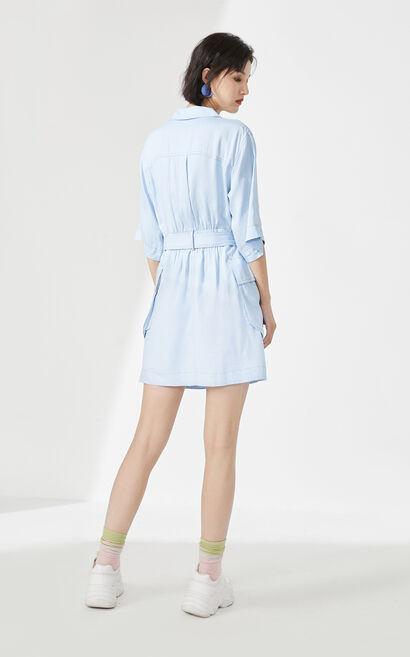 休閒收腰大口袋襯衫洋裝, 藍, large