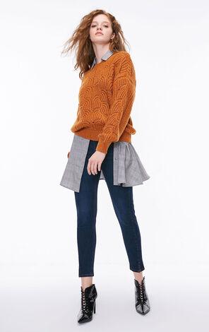 冬季新款金屬亮絲鏤空針織衫女|118313503