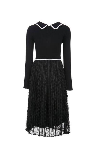 【春季新款】針織網紗拼接百褶洋裝, 黑, large