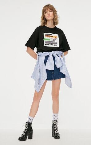 ONLY2019春季新款英文字寬鬆圓領短袖T恤