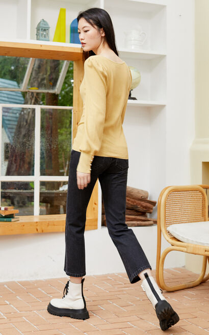氣質百搭方領短款針織上衣, 芒果, large