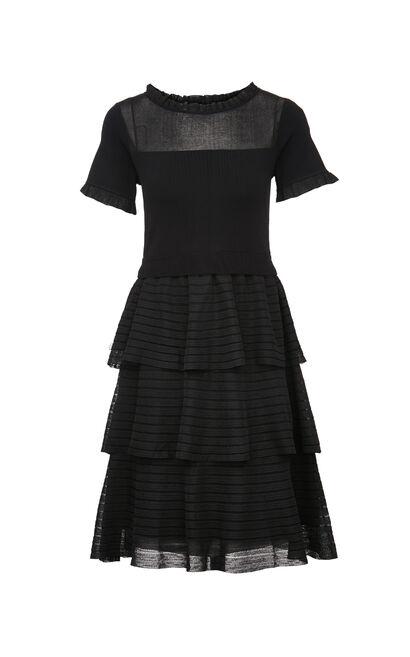 【秋冬新款】時尚透視拼接蛋糕裙洋裝, 黑, large