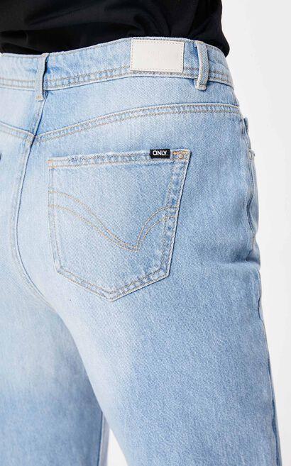 寬鬆男友風直筒九分丹寧褲, 水藍色, large