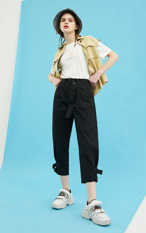 ONLY 純棉工裝風顯瘦寬鬆束腳薄款休閒褲|120214501