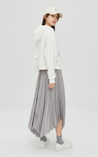 時尚高腰不對稱開叉百褶裙, 灰色, large