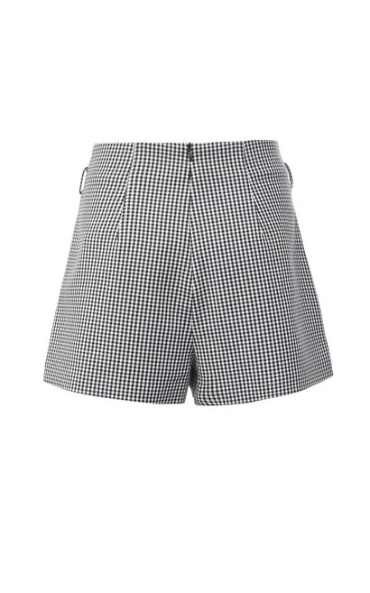 高腰格子休閒短褲, 灰色, large