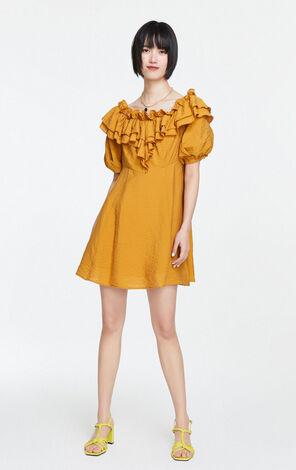 法式荷葉邊綁帶洋裝