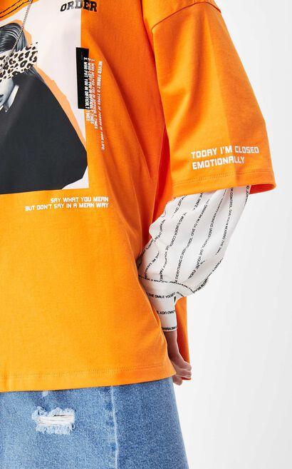 ONLY2019秋季新款豹紋印花寬鬆純棉T恤, 桔色, large