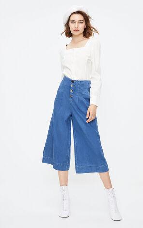 ONLY2019秋季新款高腰闊腿七分牛仔褲|11936I514