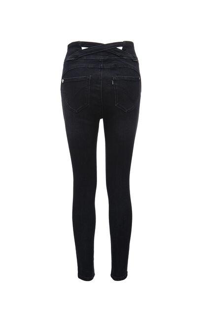 時尚高腰顯瘦九分牛仔褲, 黑, large