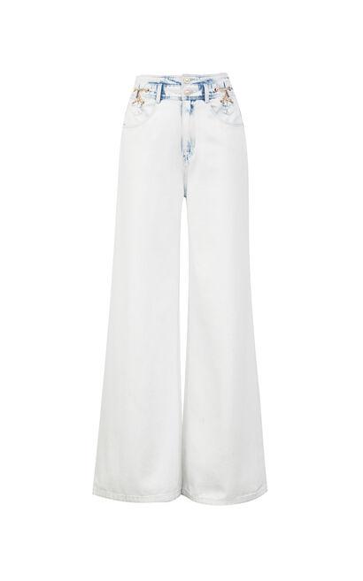 涼感高腰寬鬆顯瘦牛仔褲, 藍, large