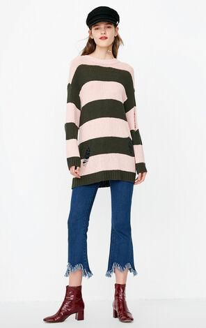 冬季新款破洞條紋針織衫女|118324545