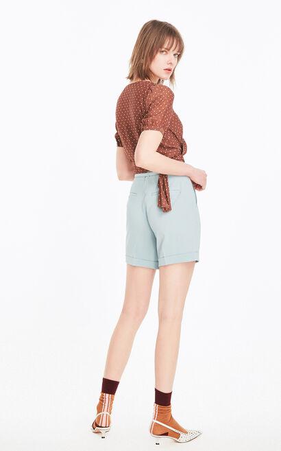 時髦直筒捲管休閒短褲, 藍, large