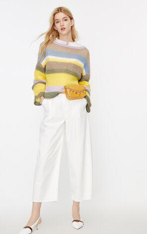 ONLY2019秋季新款彩條寬鬆長袖針織上衣|119324554