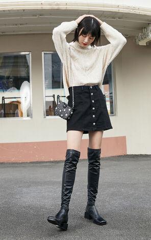 保暖羊毛高領寬鬆針織衫
