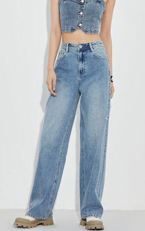 個性百搭破洞高腰寬鬆牛仔褲