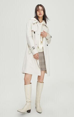法式簡約純色風衣外套