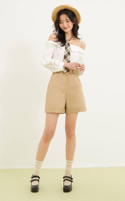 甜美細肩休閒連身褲, 白, large