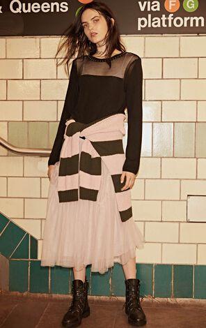 冬季新款鉚釘鏤空設計套頭針織衫女|118324585