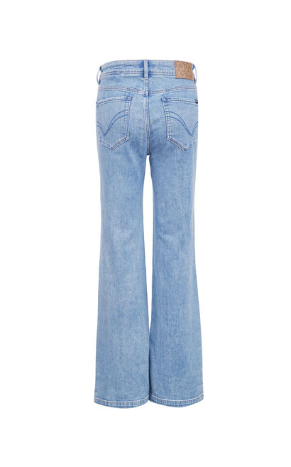 高腰百搭喇叭牛仔褲, 藍, large