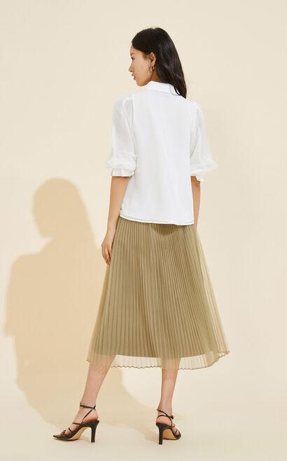 翻折前領泡袖雪紡襯衫, 白, large