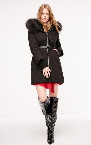 冬季新款羅紋領修身連帽羽絨服女|118312532