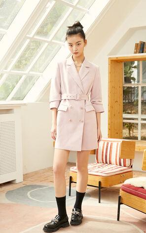 簡約西裝式七分袖洋裝