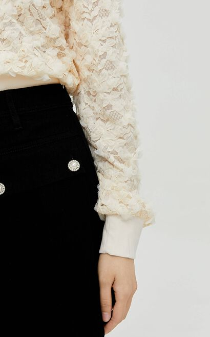 法式優雅娃娃領鏤空花朵蕾絲設計上衣, 白, large