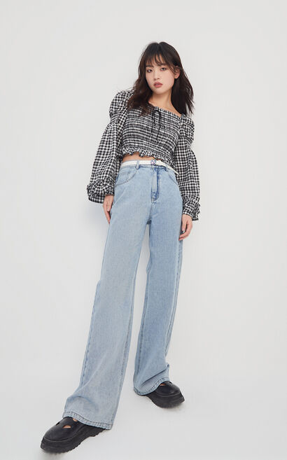 腰帶裝飾寬鬆微喇丹寧褲, 藍, large