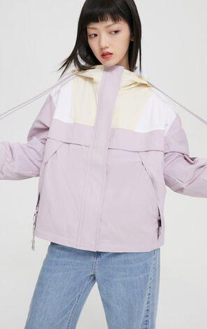 時尚撞色工裝風大口袋連帽外套