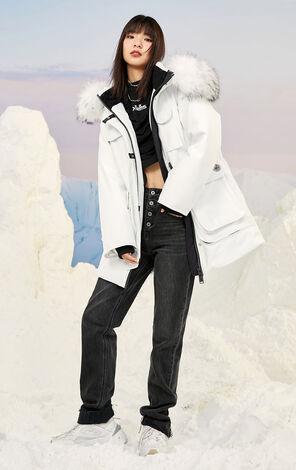 【冬季新款】保暖毛領連帽中長款羽絨外套