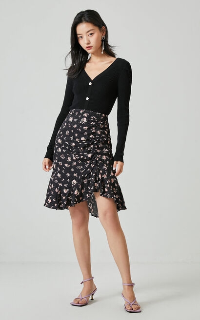 復古碎花荷葉抽褶魚尾裙, 黑, large