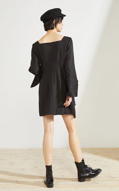條紋工裝設計感拼接洋裝, 黑, large
