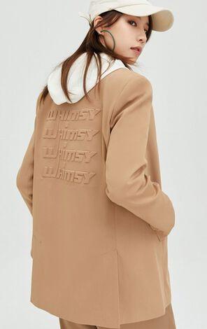 率性雙排扣3D字母設計西裝外套