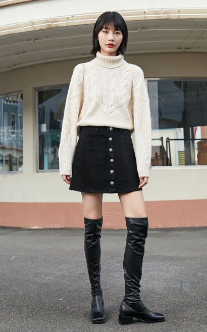 保暖羊毛高領寬鬆針織衫, 白, large