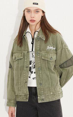 時尚潮流短款寬鬆個性拼接外套