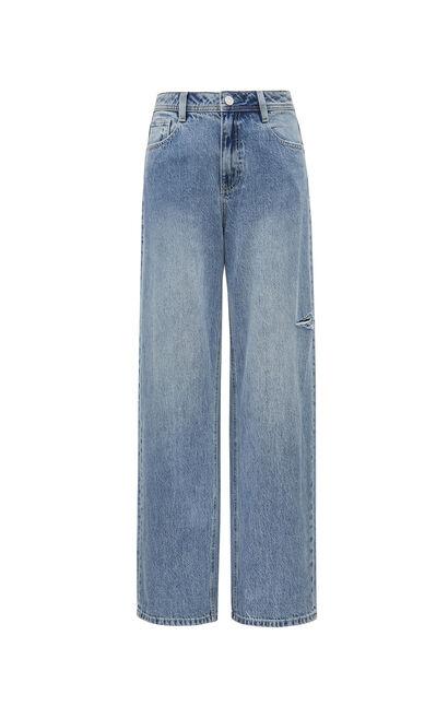 個性百搭破洞高腰寬鬆牛仔褲, 藍, large