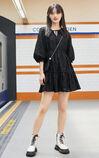 【秋冬新款】黑色氣質繫帶七分袖洋裝, 黑, large