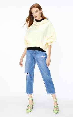 ONLY2019秋季新款低腰刷破寬鬆九分牛仔褲