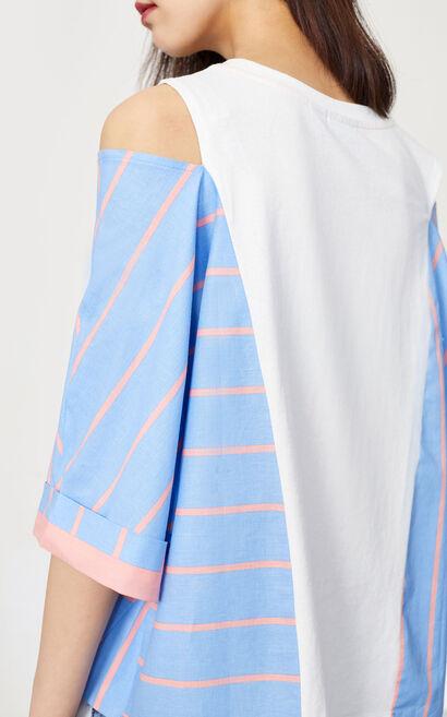 條紋拼接露肩短袖上衣, 海軍藍, large