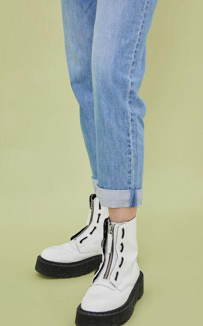 高腰直筒水洗九分牛仔褲, 藍, large