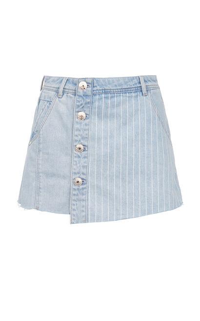 排扣特殊剪裁牛仔短褲, 淺藍, large