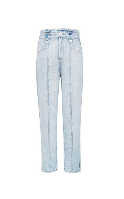 高腰明線設計九分丹寧褲, 藍, large