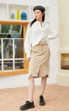 【2件8折】休閒粗毛呢兩件套長袖襯衫, 白, large