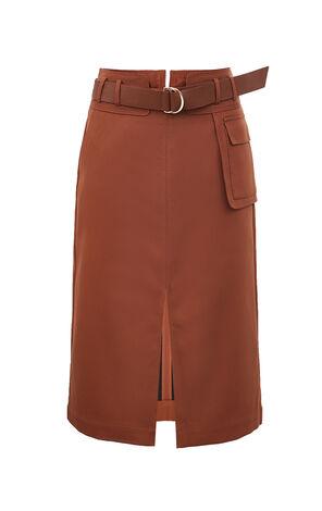 氣質開衩腰帶直筒中長裙