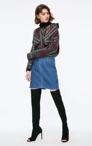 冬季新款抽繩格紋開叉襯衫女|118331513