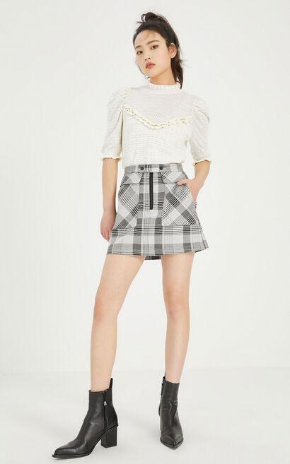 立領鏤空針織上衣, 白, large