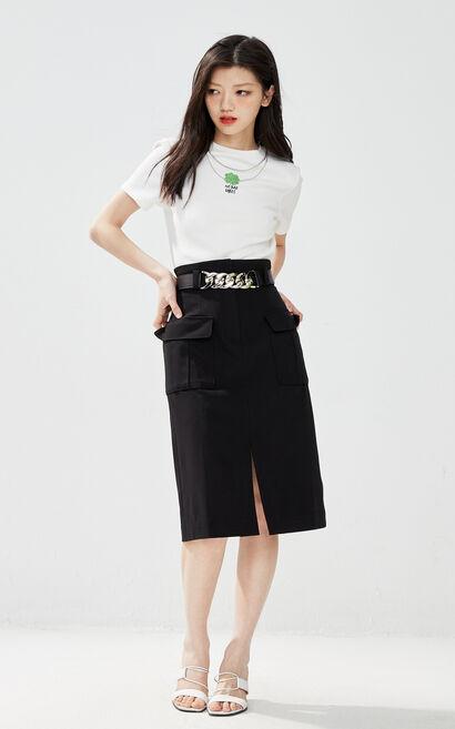 高腰顯瘦附腰帶半身裙, 黑, large