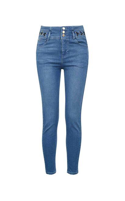 高腰編織腰頭設計小腳丹寧褲, 藍, large